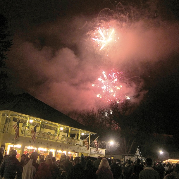 The annual Christmas at the End of the Road fireworks show produced the usual pyrotechnic effects last Saturday in downtown Winthrop. Photo by Don Nelson