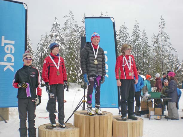 Methow Valley Nordic Team skiers Peter Aspholm, second from right, and Emerson Worrell, second from left, celebrate their respective first- and third-place finishes in the Midget Sprint finals at the British Columbia Midget Championships held at Salmon Arm, B.C., earlier this month. Photo courtesy of Leslie Hall
