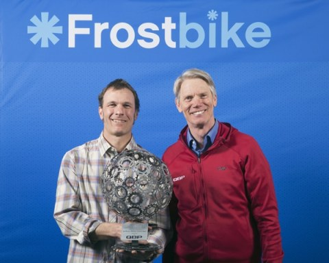 Joe Brown accepts the Mankin award from Steve Flagg, founder of Quality Bicycle Products.