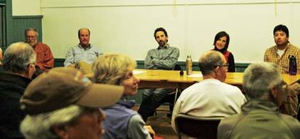 Proponents of a new Methow Valley Recreation District took questions from a standing-room-only gathering in Mazama last week. From left are Fred Wert, Jay Lucas, Camden Shaw, Julie Muyllaert and Kevin van Bueren. Photo by Ann McCreary