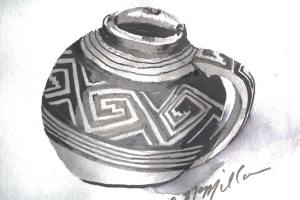 """Mesa Verde Black on White Mug"" by Carol McMillan. Photo courtesy Winthrop Gallery"