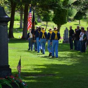 The color guard marches out of the ceremony in formation. Photo by Laurelle Walsh