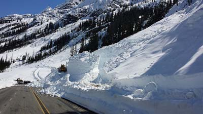 Day 17 reopening from the east side of SR 20 - North Cascades Highway. Mark Bakken spend Monday cutting basins above the highway in avalanche chutes to catch snow slides before they reach the highway. Photo courtesy of WSDOT