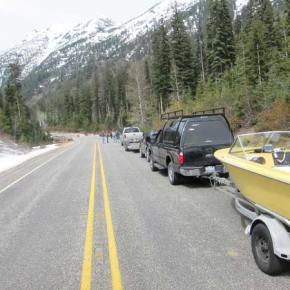 Motorists lined up well before noon on Thursday (May 8) at the Silver   Star gate on the North Cascades Highway, waiting for the road to open   for the season. Photo by Don Nelson