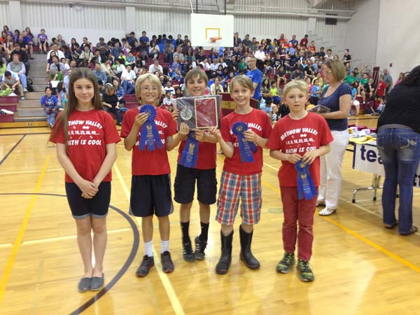 The state champs: Maggie Moore, left, Ian DeLong, Travis Grialou, Gedi Weidig and Dusty Patterson. Photo Courtesy Rasa Tautvydas