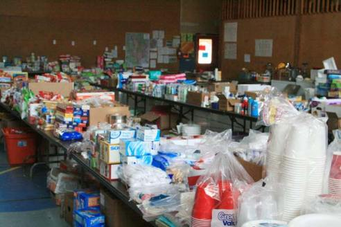 Cascade Bible Church is helping distribute donated goods. Photo by Marcy Stamper