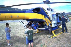 A crew from Northwest MedStar gave tours of their helicopter. Photo by Laurelle Walsh