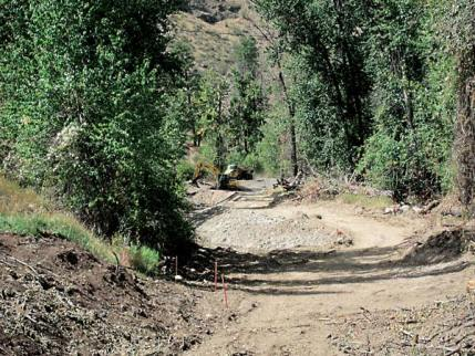 Excavation to restore a historic side channel of the Methow River was underway this week on the northern limits of Twisp. Photo by Don Nelson