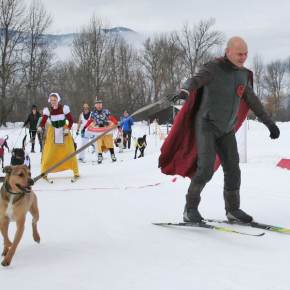 Photo by Darla HusseyHistory Man, aka Danbert Nobacon, skied relatively well for someone rumored to have been present at the Battle of Hastings in 1066.