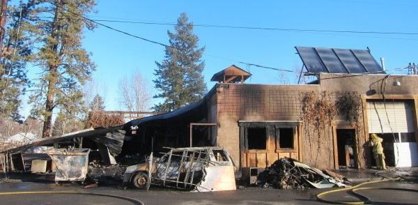 Photo by Don NelsonA firefighter checked out some of the damage caused by an early-morning fire on Monday (Feb. 29) at the Twisp River Pub.