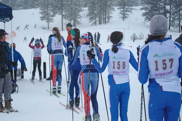 Photo by Don Nelson Competitors lined up for individual time trials in the girls' U14 group on Saturday. Methow Valley skiers included No. 152, Jess Dinham; No. 153, Lena Nelson, and No. 155, Keeley Brooks.