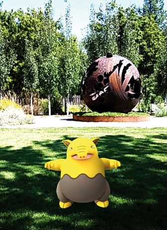 Photo by Darla Hussey This little drowzee was captured at TwispWorks near the Entro sculpture that is one of two Pokestops on the campus.