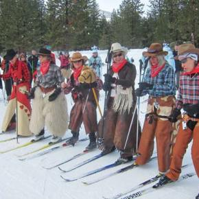 Photo by Don Nelson A chorus line of cowgirls boogies a bit before skiing.