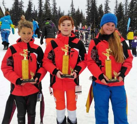 Photo courtesy of Loup Loup Alpine Ski Team Graham Sheley, left, Aidan Catlin and Sydney Schuler were all winners at the Wolf Chase Race last weekend.