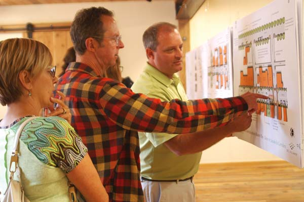 Photo by Ann McCreary Valerie Kardonsky, left, owner of YogaLush in Twisp, and Brian Sholdt (center), talk with Eric Johnston of SCJ Alliance about proposed improvements to downtown Twisp during an open house at TwispWorks.