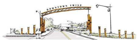 Artwork courtesy of SCJ Alliance A gateway to downtown Twisp is illustrated in a conceptual drawing by SCJ Alliance.