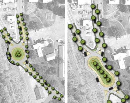 Artwork courtesy of SCJ Alliance Two concepts for traffic roundabouts at the Highway 20 and Glover Street intersection were developed by consultants planning improvements for downtown Twisp.