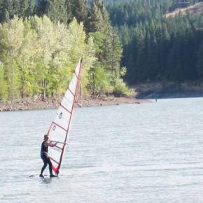 Photo by Don Nelson A solitary sailboarder took advantage of brisk breezes at Patterson Lake on Sunday.