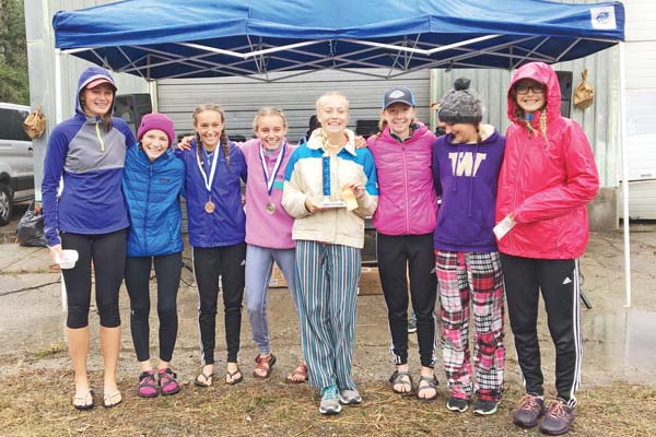 Photo courtesy of Lisa Strong-Wallis Liberty Bell's winning varsity girls team, from left: Taya Delong, Rivers Leeman, Gretta Scholz, Novie McCabe, Icel Sukavoty, Ava Mott, Sage Borgias and Athena Milani.