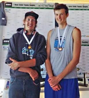 Photo courtesy of David Schulz Jesse Schulz, left, and Josh Frey used their height to good advantage at the state tennis meet.