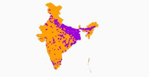 populaiton of india split in half