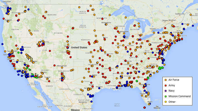 The Most Credible UFO Sightings And An Interactive Map Metrocosm - Us military map
