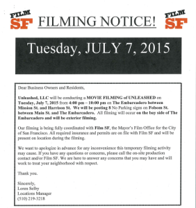 Filming Notice SF