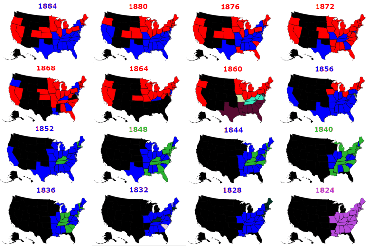 presidential election historical results 1824-1884