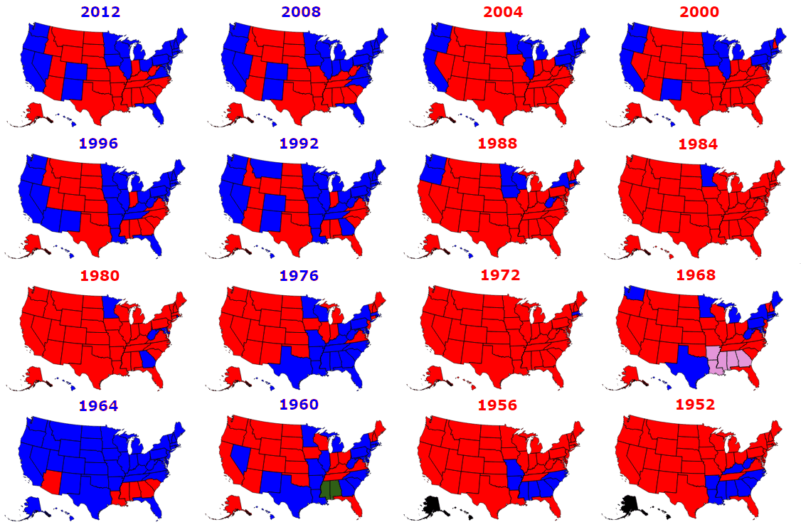 Presidential Elections Used To Be More Colorful Metrocosm - Us presidential election red blue map