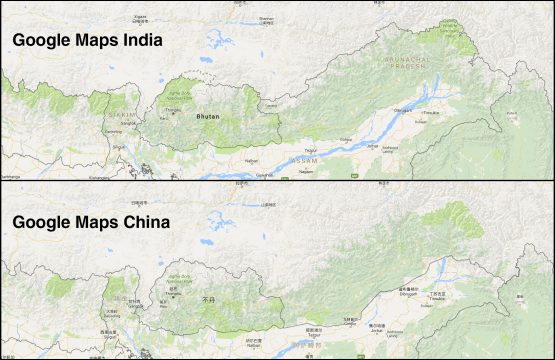 google maps borders