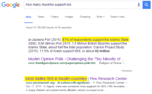 how many muslims support isis google results