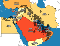 map of middle east oil and GDP per capita