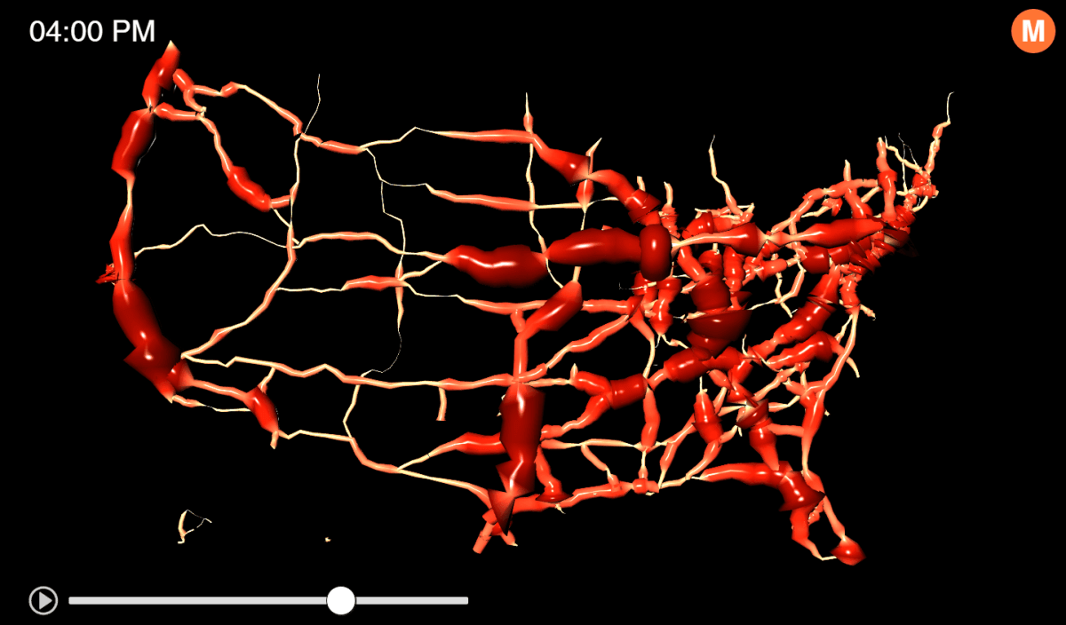 Watch 24 Hours of Traffic, Visualized as a Living Circulatory System