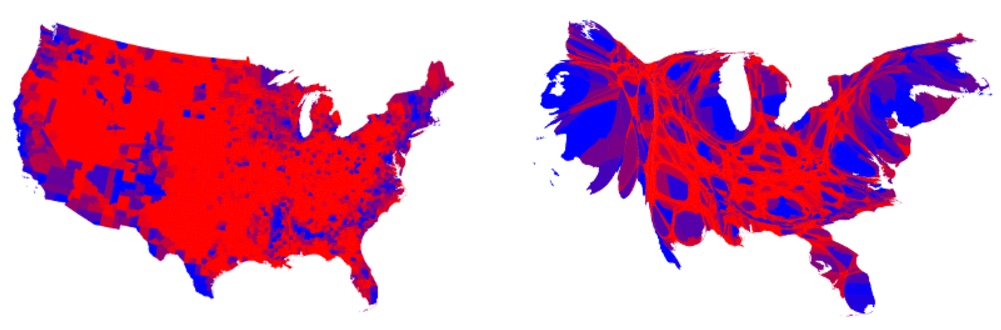 Area Is Sized Proportional To Its Population The One Below Also Uses A Spectrum Of Colors Rather Than Just Red And Blue To Show How Close The Vote