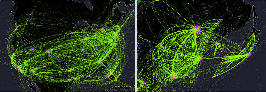 Every Plane Flight In The World Over One Year Animated Map Metrocosm - Us-air-traffic-map
