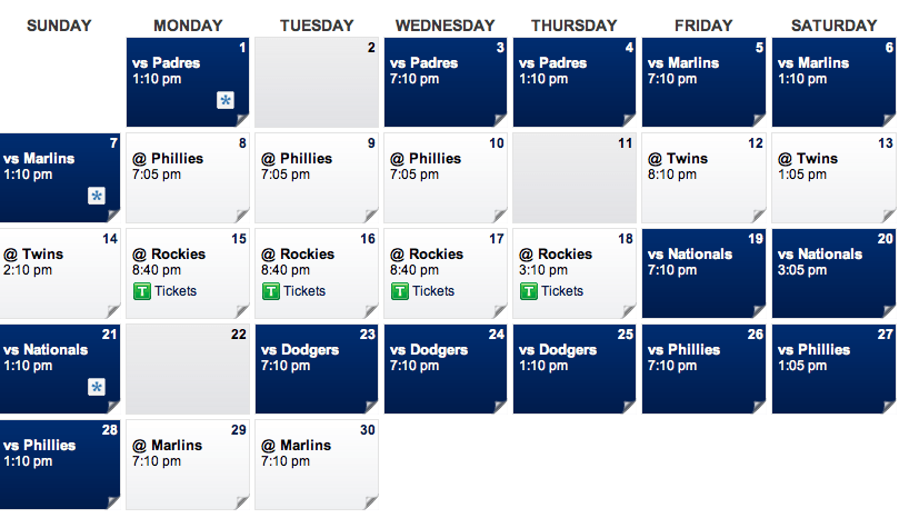 April Mets Schedule