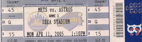 Mets 2005 Opening Day ticket metspolice.com