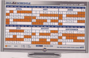 2013 Mets magnetic schedule