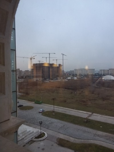 The People's Salvation Cathedral (planned to be the largest Orthodox Cathedral in the region), under construction on the site of the House of the People, Bucharest. View from the Museum of Contemporary Art, January 2017. Photo: Raluca Voinea