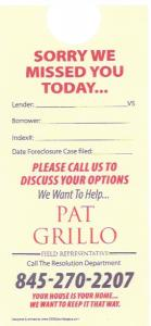 The deceptive door hanger that Pat Grillo uses to solicit clients for New York Foreclosure Attorney John Schwarz