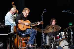 Trio Da Paz on the Mainstage at the 2015 Port Townsend Jazz Festival. Romero Lubambo, guitar; Nilson Matta, bass; Duduka Da Fonseca, drums