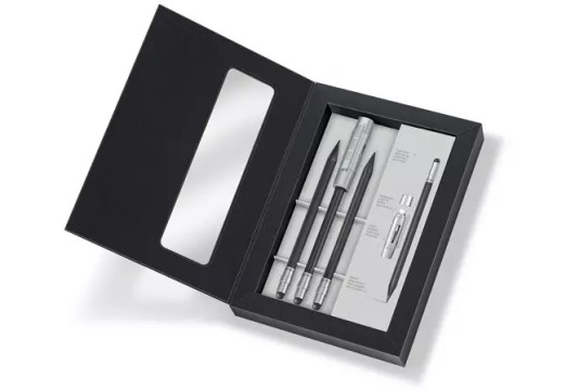 STAEDTLER 'The Pencil' Stylus Box opened: 3 stylus pencils and a cap