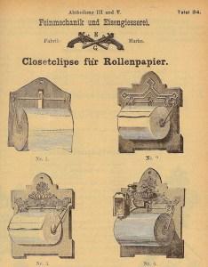 Bereits 1888 boten die Eisenwerke Gaggenau vier Halter für perforiertes Toilettenpapier an - vier Jahrzehnte vor Hakles Produktion in Ludwigsburg.