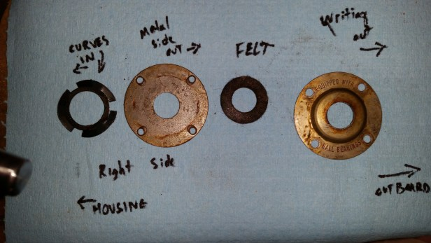 From inboard to outboard (L-R in the photo): (1) spring for keeping thrust tension on the bearing; (2) metal washer; (3) felt washer; (4) end cap. This picture might be a little confusing, since when you're working on the left shaft, these parts are assembled from left (inboard) to right (outboard).