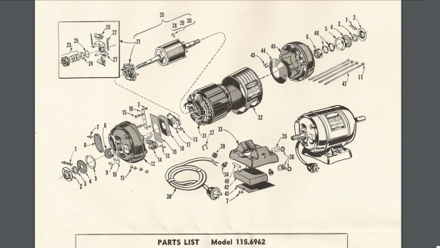Parts breakdown diagram for the Craftsman 115.6962 1/2 HP motor.  See also the parts list image that follows this one.