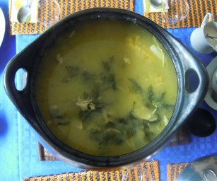 Ajiaco in the large bowl ready to serve