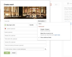 Google+ Event Setup
