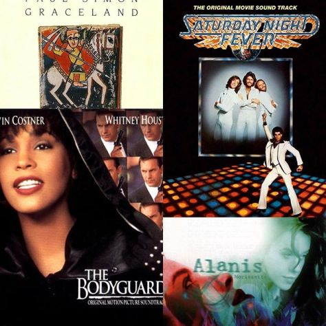 Two of the only soundtracks to be Album of the Year, along with two modern classics. Clockwise from top left: 1987: Graceland by Paul Simon; 1979: Saturday Night Fever OST; 1996: Jagged Little Pill by Alanis Morissette; and 1994: The Bodyguard OST #instagrammycountdown #playlist