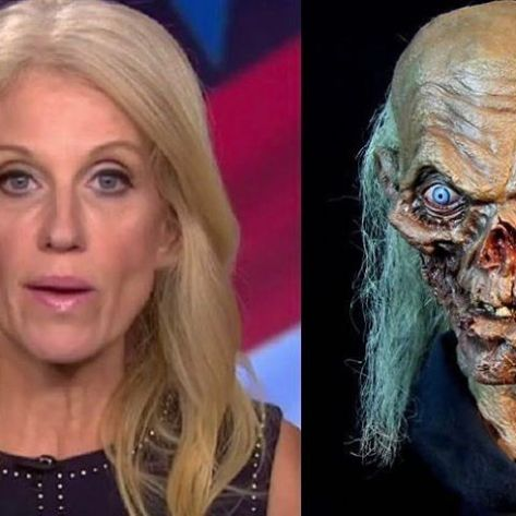 My sources are telling me Kellyanne Conway is actually the Crypt-Keeper without any makeup. 🤔#alternativefacts