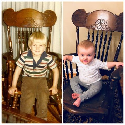 Dad, daughter, and the same rocking chair some thirty-odd years later. #tbt